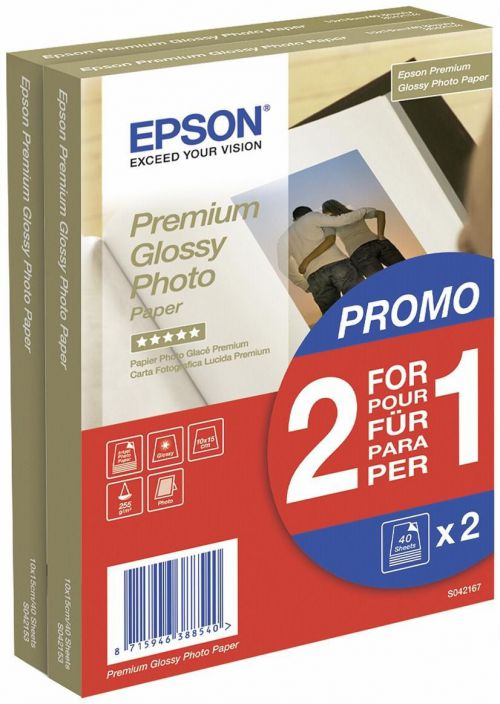 Epson C13S042167 Glossy Photo Paper 10x15cm 2x40 Sheets