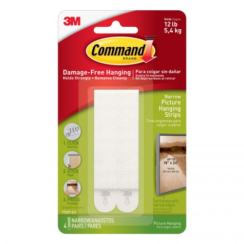 Command Narrow Picture Hanging Strips White 4 Sets 17207