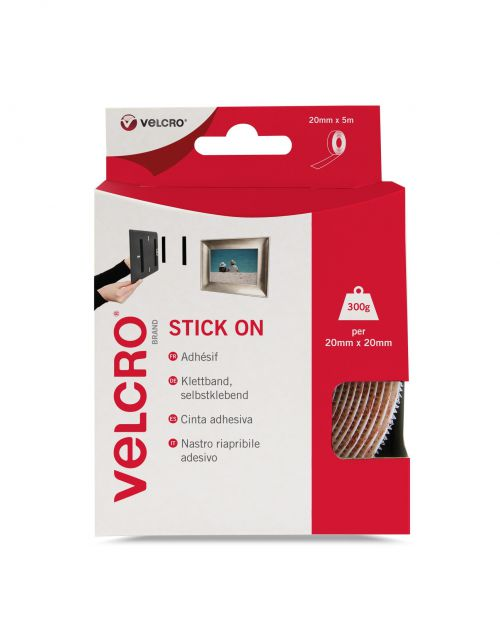 VELCRO White Stick On Hook N Loop 20mm X 5m