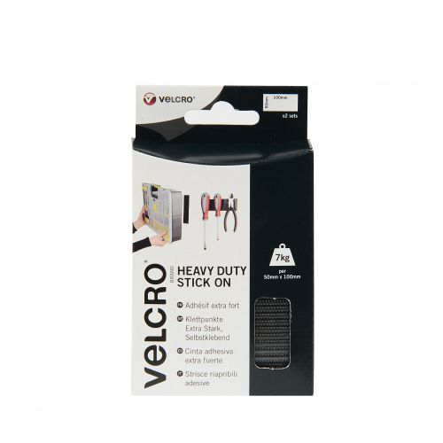 VELCRO Black Stick On Heavy Duty 50mmx100mm 2 Sets