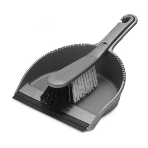 Stiff Dustpan & Brush Set Silver