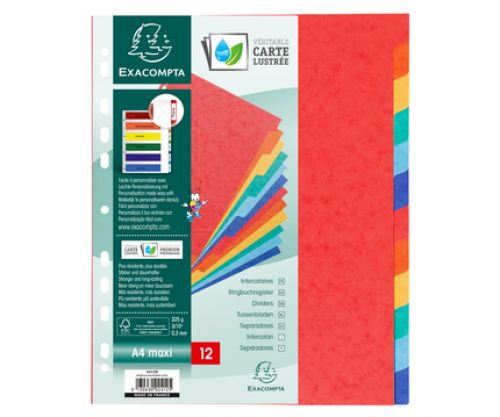 Exacompta 5 Part Coloured Recycled Dividers A4 Extra Wide
