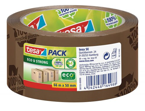 tesa EcoLogo Printed PP Tape 50mmx66m Brown 58155 PK6