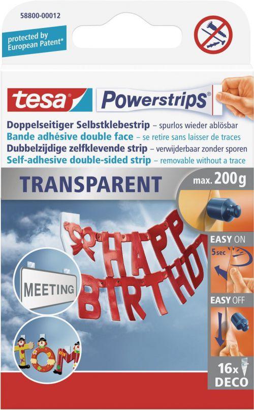 tesa Powerstrips Transparent Deco 58800 PK16