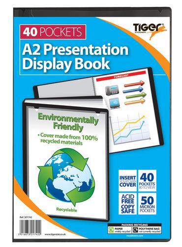 Tiger A2 Presentation Display Book 40 Pocket Black