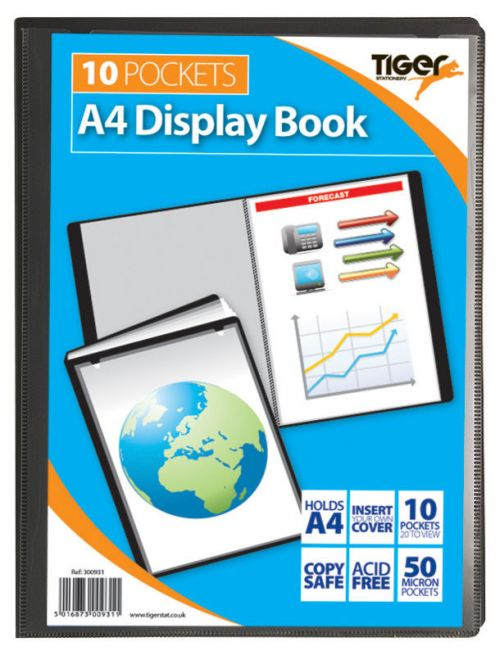 Tiger A4 Presentation Display Book Black 10 Pocket