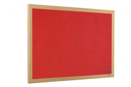 Bi-Office Earth-It Exec Red Felt Ntcbrd Oak Frame 90x60cm
