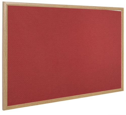 Bi-Office Earth-It Red Felt Noticebrd Oak Frame 180x120cm