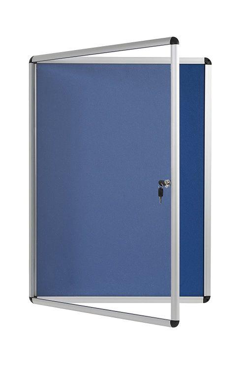 Bi-Office Enclore Blue Felt Lockable Noticeboard 20xA4