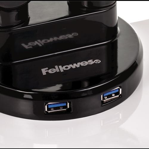 Fellowes Dual Monitor Arm Adjustable 360-degree Rotation Black Ref 8042501 [REDEMPTION]
