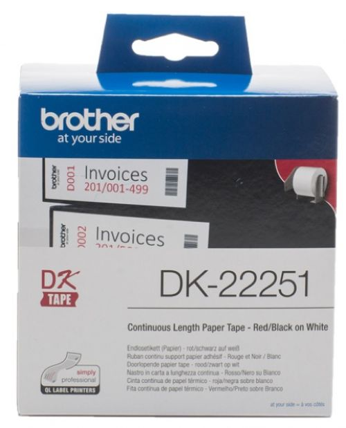 Brother DK22251 Continuous Paper Roll Red Black 62mmx15m