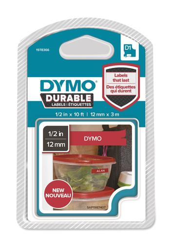 Dymo D1 Tape Durable 12mm x 3M White on Red
