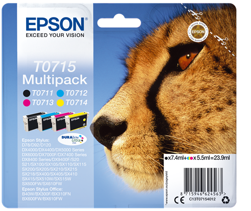 Epson C13T07154012 T0715 Black Colour Ink 24ml Multipack