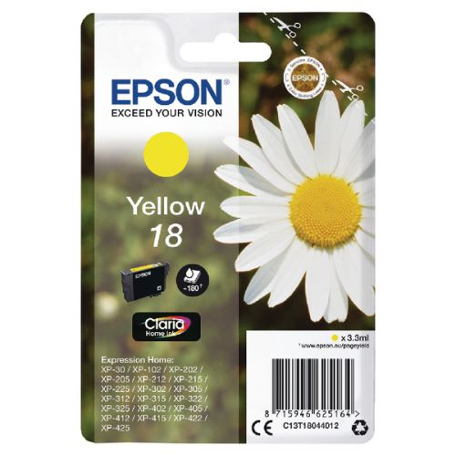 Epson C13T18044012 18 Yellow Ink 3ml