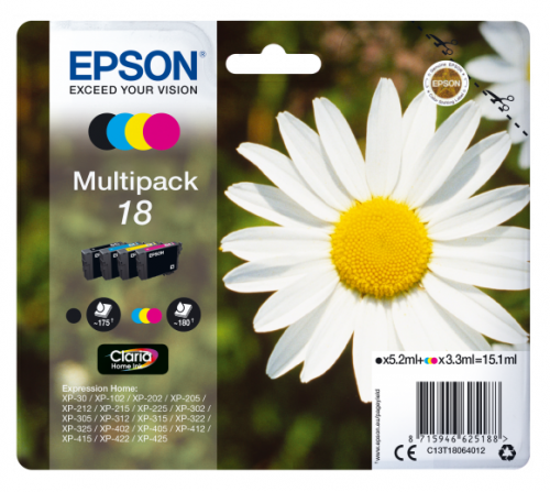 Epson C13T18164012 18XL Black Colour Ink 11.5ml 3x7ml Multi