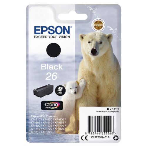 Epson C13T26014012 26 Black Ink 6ml