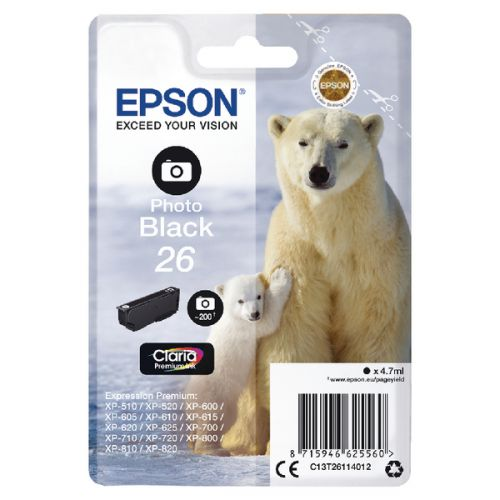 Epson C13T26114012 26 Photo Black Ink 5ml