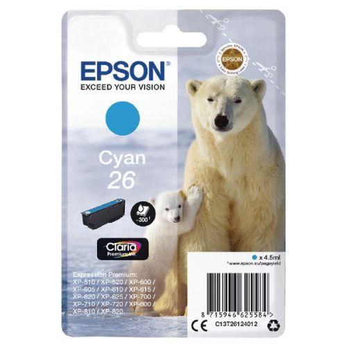 Epson C13T26124012 26 Cyan Ink 4.5ml