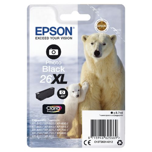 Epson C13T26314012 26XL Photo Black Ink 9ml