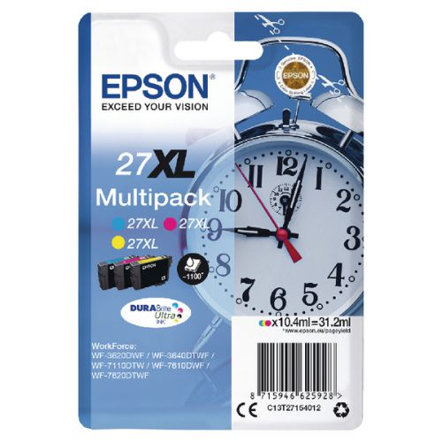 Epson C13T27154012 27XL Colour Ink 3x10ml Multipack
