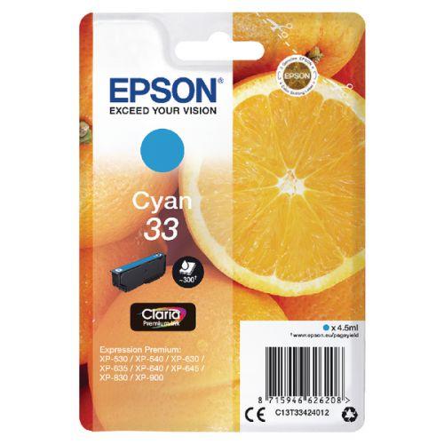 Epson C13T33424012 33 Cyan Ink 4.5ml