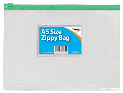 Tiger Zippy Bag Polypropylene A5 180 Micron Clear with Assorted Colour Zips