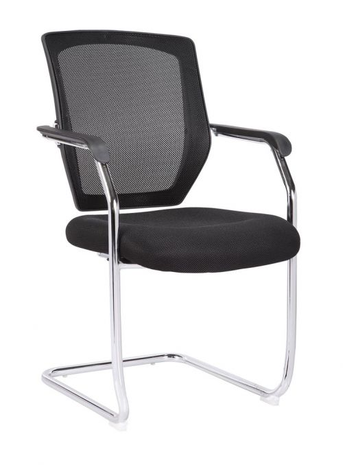 Medium Back Mesh Cantilever Chair Black
