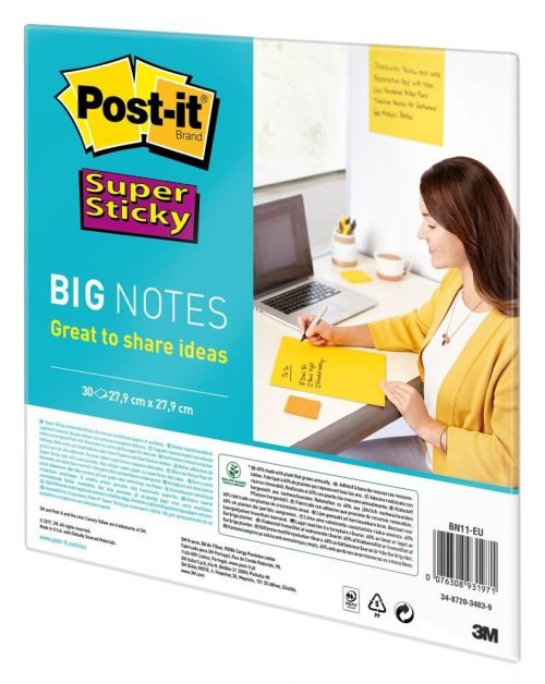 Post-it Super Sticky Dry Erase Sheets Self-adhesive 279x279mm Yellow Ref BN11-EU [30 Sheets]