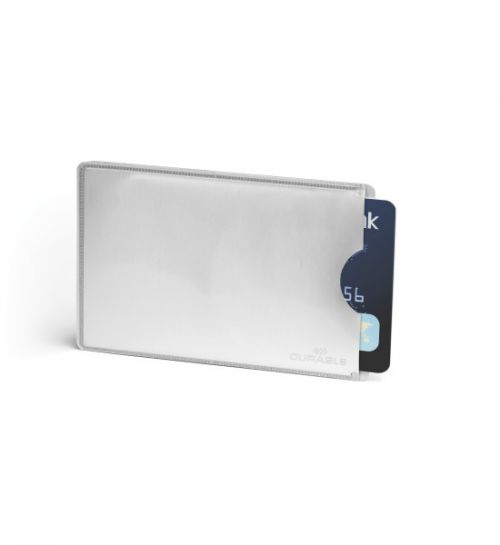Image for Durable Credit Card Sleeve RFID Secure Silver Pack 10