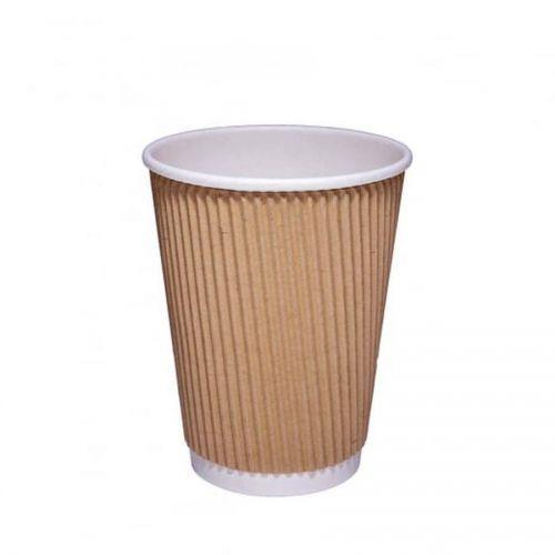 Value 12oz Kraft Ripple Hot Cup O PK25