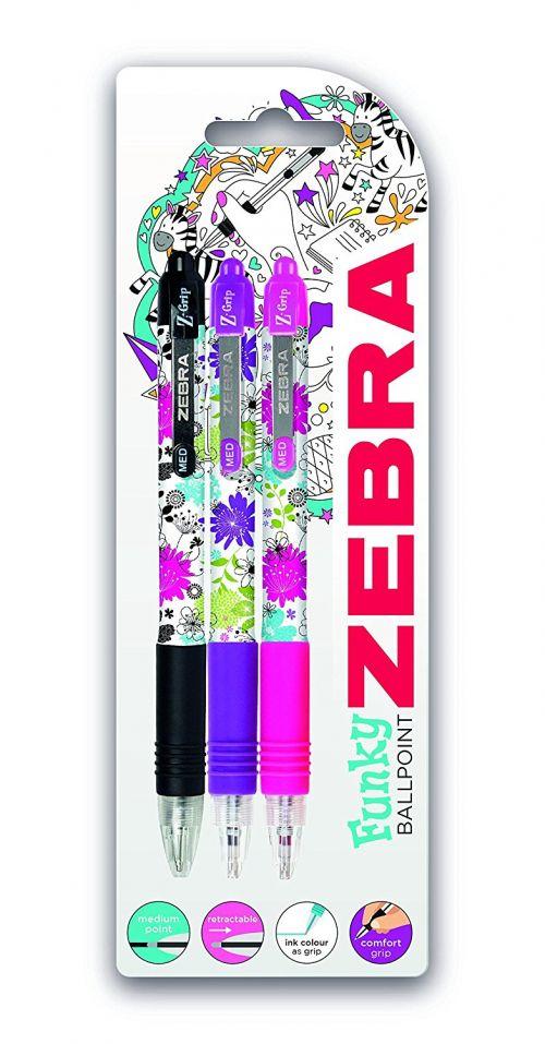 Zebra Z-Grip Floral Ballpoint Pen Assorted Colours PK3