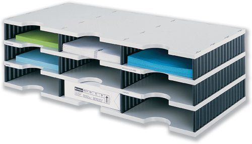 Styrodoc Trio Base Unit  9 Compartments GY Base BK Sides