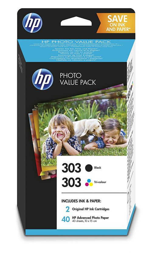 HP Z4B62EE 303 Black Tricolour Ink Photo Value Pack 2x 4ml