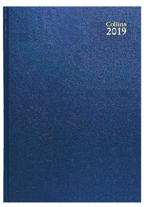 Collins A4 Desk Diary Day to Page 2019 Blue