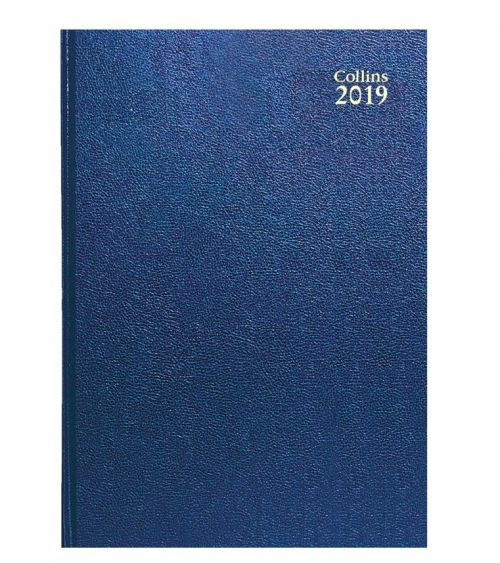 Collins A5 Desk Diary Day to Page 2019 Blue