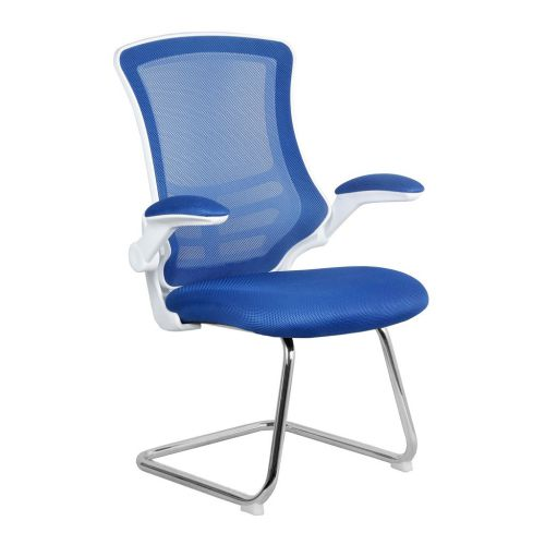Luna White Shell Chrome Frame Cantilever Mesh Chair Blue