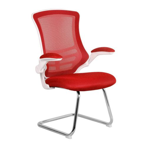 Luna White Shell Chrome Frame Cantilever Mesh Chair Red