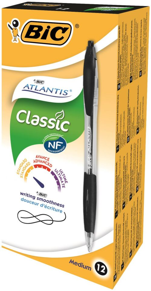 Bic Atlantis Ball Pen Black Pack 12 + Flex Highlighter Pk4