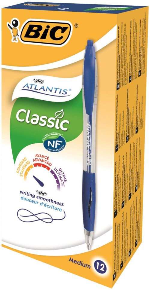 Bic Atlantis Ball Pen Retractable Cushioned Grip Blue Ref 887131 [Pack 12] [FREE Flex Highlighter x 4]