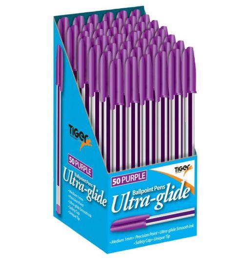 Tiger Ball Point Pens Purple BX50