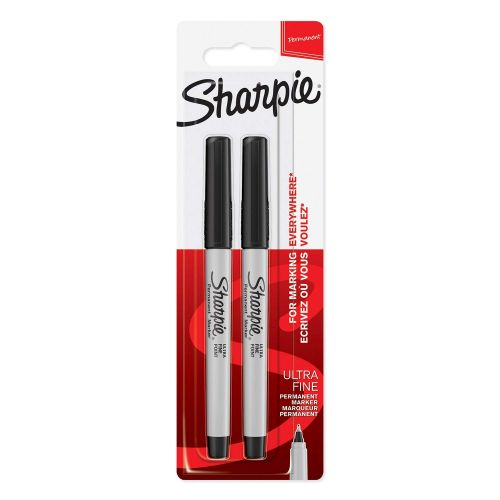 Sharpie Ultra Fine Permanent Marker Black Blister PK2