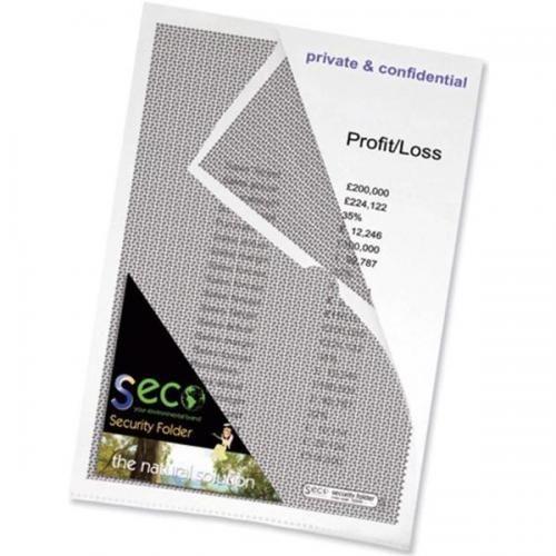Seco Security Cut Flush Folder A4 Clear Pack10