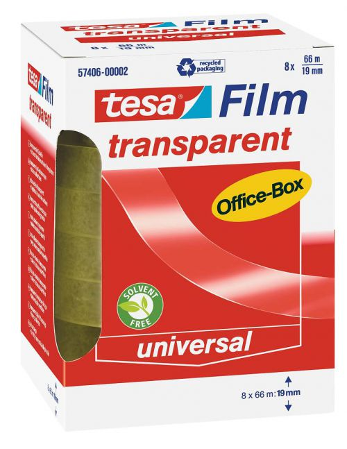tesa Transparent Adhesive Film 19mmx66M PK8
