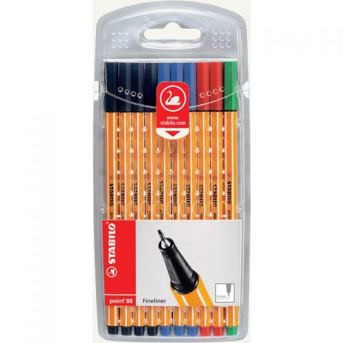 Stabilo Point 88 Fineliner Pen 0.4mm Line Assorted Office Colours (Pack 10)
