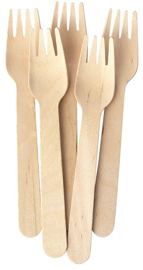 Natural Birchwood Forks Pack 100