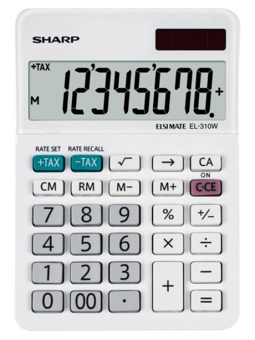Sharp EL310W Desktop Calculator 8 Digit Angled Display