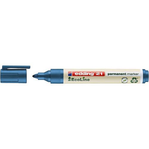 edding 21 EcoLine Permanent Bullet Tip Marker Blue PK10