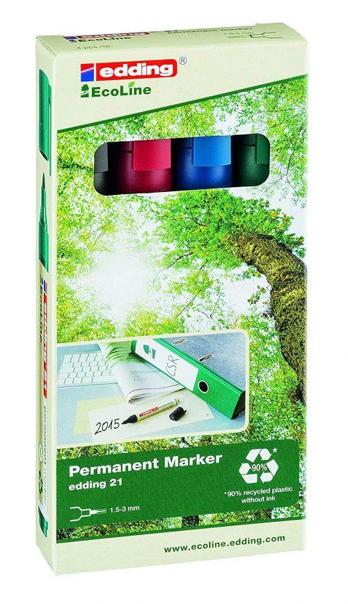 edding 21 EcoLine Permanent Bullet Tip Marker Assorted PK4