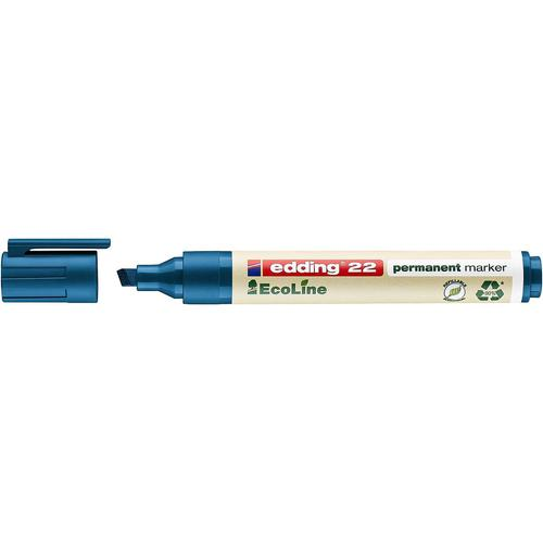 edding 22 EcoLine Permanent Chisel Tip Marker Blue PK10