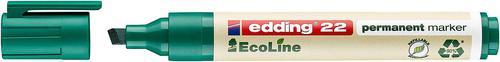 edding 22 EcoLine Permanent Chisel Tip Marker Green PK10